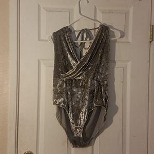 Velvet halter bodysuit